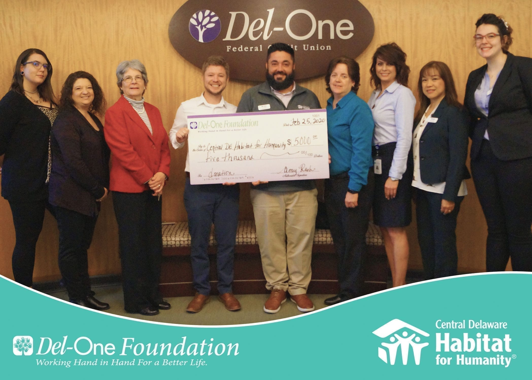 Del-One Foundation donates $5000 to the Central Delaware Habitat for Humanity
