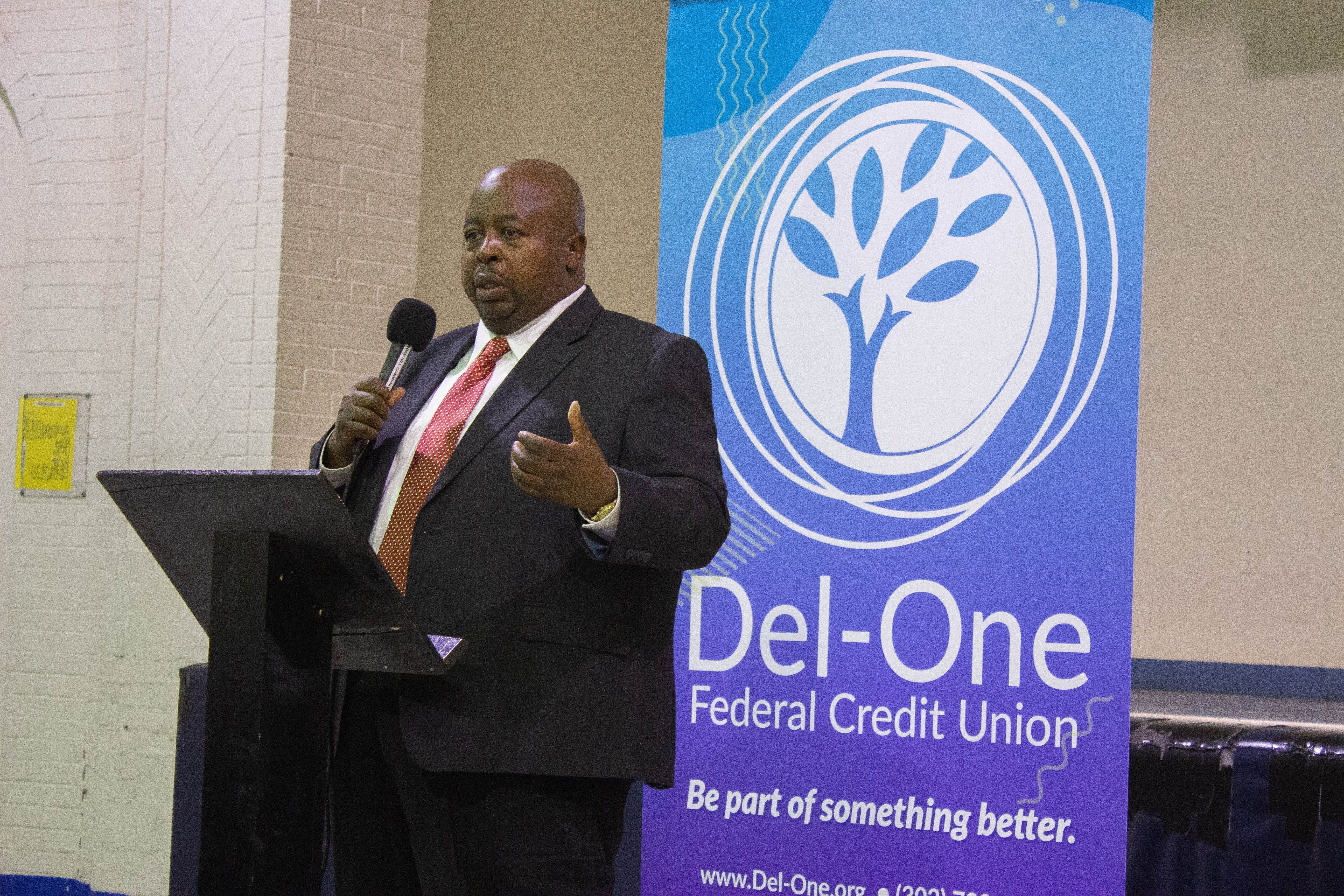 Del-One at the Rose Hill Community Center ceremony